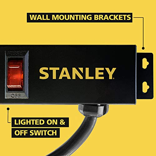 Stanley 31610 SurgeMax Pro 9 Outlet Metal Surge Protector, Black