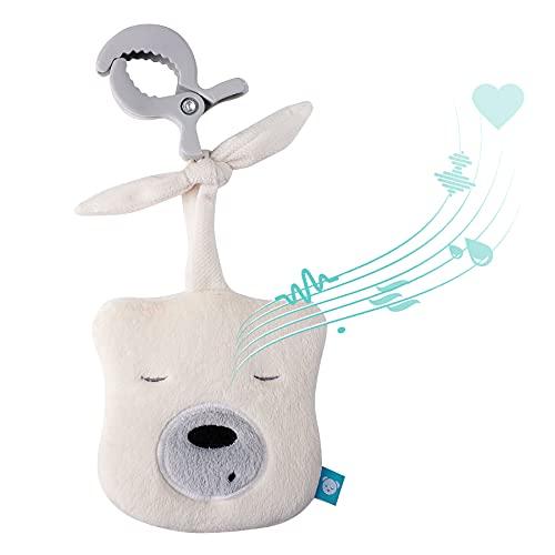 myHummy Peluche bruit blanc bébé portable mini écru avec pince | Aide à l'endormissement enfant | Machine à bruit blanc - battement coeur bruit des vagues | Peluche my hummy sommeil bebe apaisement