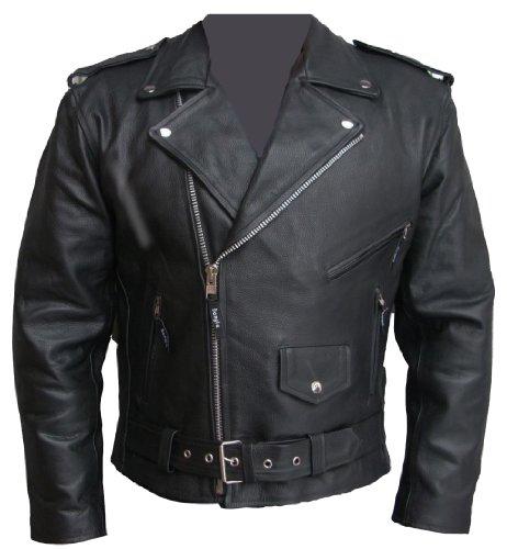 Lederjacke Chopper Biker Motorrad Leder Jacke mit Protektoren Schwarz M-6 XL