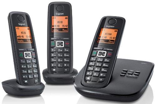 Gigaset A510A Trio Dect-Schnurlostelefon mit Anrufbeantworter, incl. 2 zusätzlicher Mobilteile, schwarz
