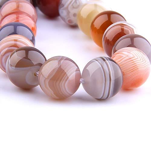HHTC Natürlicher Kaffee Botswana Steinperlen Glatte gestreiften Agates Runde Stein lose Abstandhalter-Perlen for die Schmucksachen, die DIY Armbänder handgefertigt