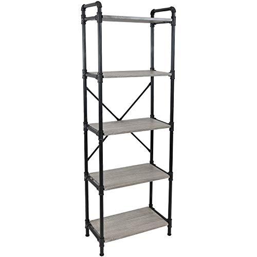 Sunnydaze 5-Tier Freestanding Industrial Bookshelf for Living Room - Black Pipe Style Frame with Wood Veneer Shelves - Oak Gray
