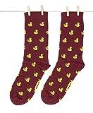 Roits Duckies Burdeos - Calcetines Originales Patitos Hombre y Mujer (41-46)