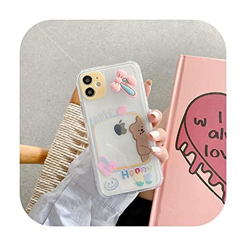 Lindo Catoon Fidget Reliver Stress Rotate Toy Case para iPhone 11 12 Pro Max Xs X Xr SE 2020 8 7 Plus Funda de silicona transparente Conejo-Para iPhone12 Pro Max