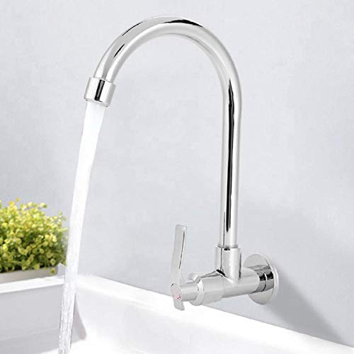 Grifo de cocina para el hogar, grifo de fregadero frío único, grifo de pared G1 / 2in (sin manguera), accesorios de baño,NOMFM0O9