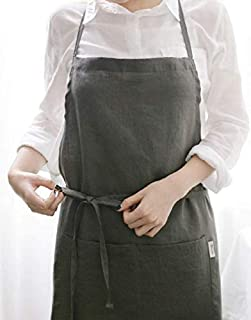 French APRON [Linen Mocha Gray] Premium Gift Chef Works Handmade Apron Japanese style Cross back with pockets Shape