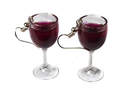 Rot Wein (Merlot, Shiraz, beaujolais, Cabernet) Glas Ohrringe