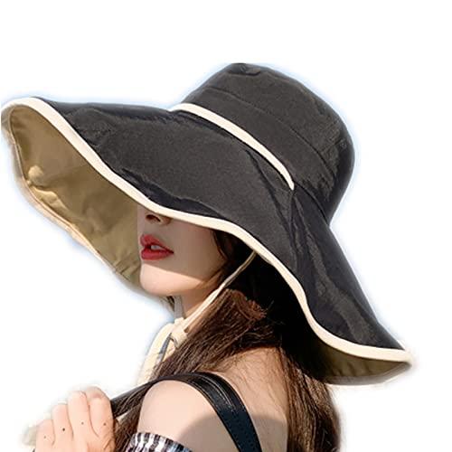 IYUNDUN Sombrero De Pescador para Mujer Sombrero De Sol 100% Algodón con Protección UV Gorra De Playa De ala Ancha Sombreros Flexibles Impresos