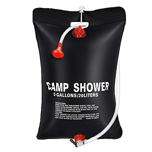 Outdoor Portable Solar Camping Shower Bag 5 Gallon / 20L, Water Rinse Kit for Camp Shower Tent, Hand Washing Station for Camp Sink, Sun Heat Rinsekit System for Hiking, Fishing, Road Traveling