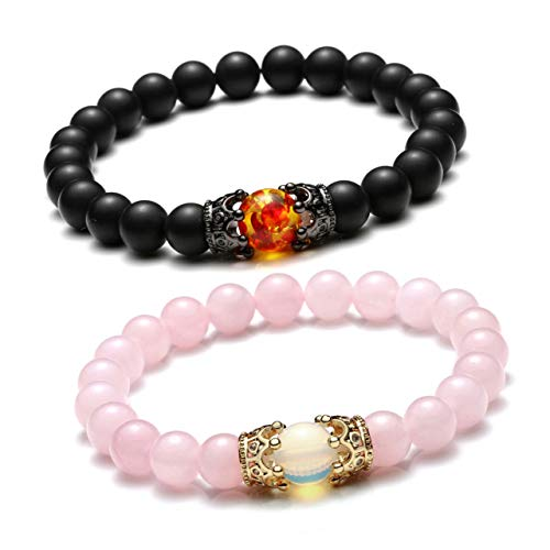 JSDDE - Pulsera para parejas de Queen y King Crown, piedra natural, con corona y colgante de rey y reina de ágata y cuarzo rosa