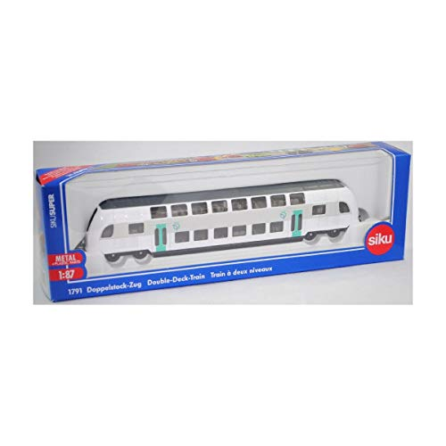 siku 1791001, Doppelstock-Zug RATP Frankreich, 1:87, Metall/Kunststoff, türkis/weiß, Kompatibel mit anderen siku Spielzeugen