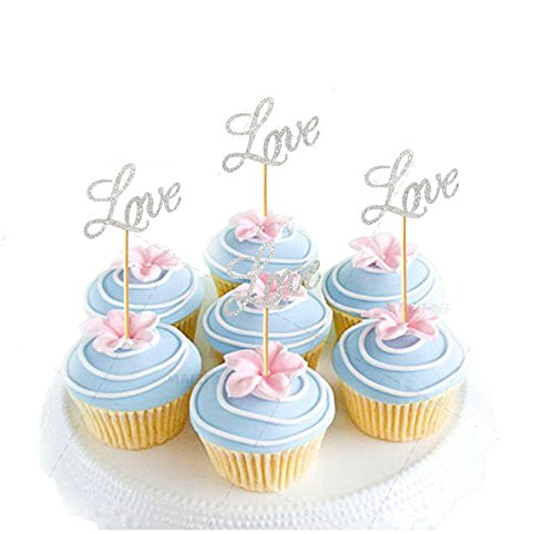 Astra Gourmet Pack of 20 Glitter Paper LOVE Cupcake Toppers, Wedding Bridal Shower Birthday Decoration Fairy Cake Topper - Silver