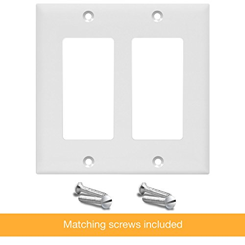 """ENERLITES Decorator Light Switch or Receptacle Outlet Wall Plate, Size 2-Gang 4.50"""" x 4.57"""", Polycarbonate Thermoplastic, 8832-W-10PCS, White (10 Pack)"""