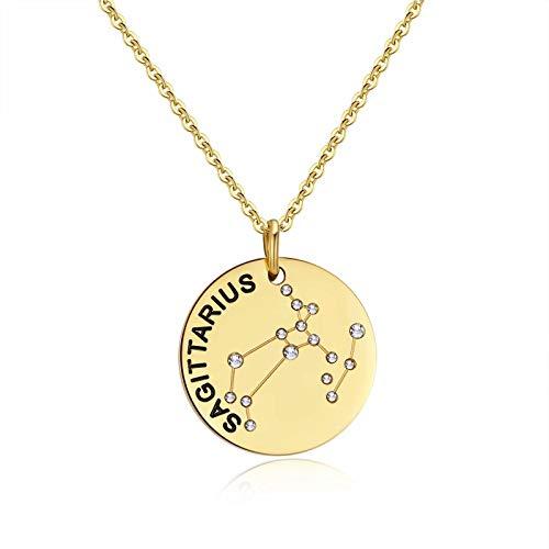 Qings Collar de Oro Sagitario Constelación Zodíaco Collar de Moda Regalo de Joyería para Novia