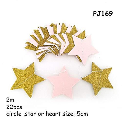 Heng goud roze hart kroon papieren slinger prinses Happy Birthday Bunting ballon staart decoraties papieren slinger, PJ169 papieren slinger, 2m