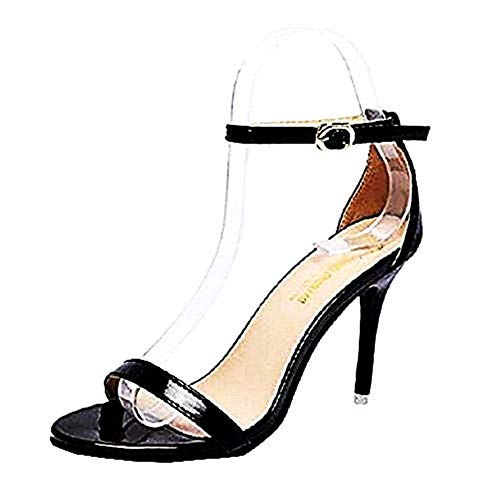 Zapatos de tacón de Aguja Sexy para Mujer - Sandalias - Negro - Brillante - Talla 39 EU - Idea de Regalo de cumpleaños