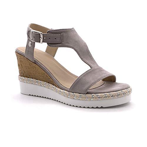Angkorly - Chaussure Mode Sandale Mule salomés Ouverte Femme Effet Bois Corde tressé Talon compensé 8.5 CM - Gris - F3079 T 36