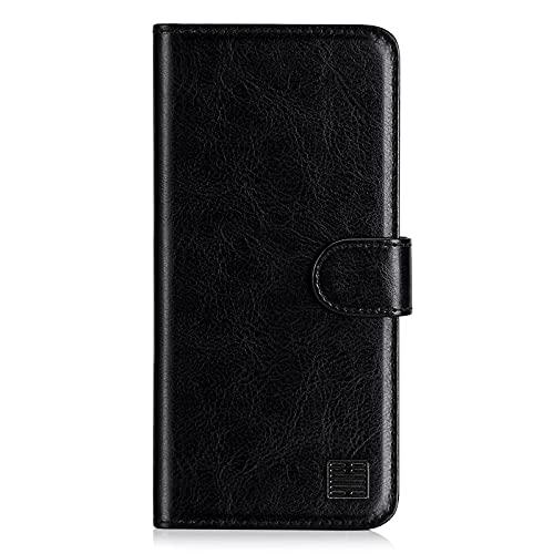 32nd Funda Flip Carcasa de Piel Tipo Billetera para Xiaomi Redmi 9T con Tapa y Cierre Magnético y Tarjetero - Negro