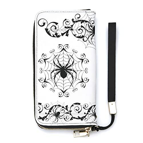 Ktewqmp Monedero largo con diseño de telaraña de Halloween, con bolsillo para teléfono móvil y cremallera, gran capacidad, de piel sintética, caja de regalo, Blanco, Einheitsgröße