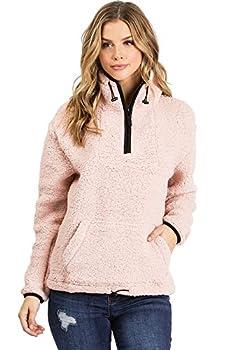 Love Tree Women s Juniors Soft Teddy Bear Sherpa Quarter Zip Pullover  S Pink