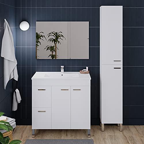 Crocket mueble baño Eibrús + lavabo + espejo + columna Titano - blanco - 80 x 80 x 45-182 x 30 x 25
