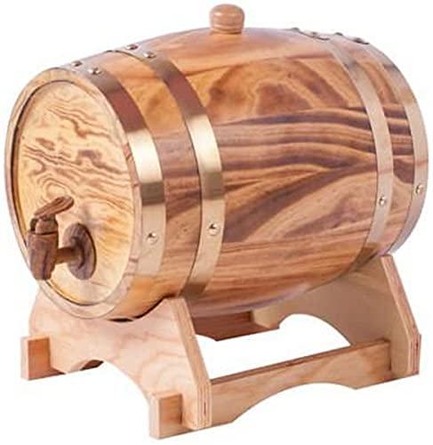 CJDM Dispensador de Barril de Whisky de 5 litros Decantador de Barril de Vino Envejecido de Roble de Madera para Mesa de Servicio Exhibición de Acento en el hogar Almacenamiento de licores, Licor