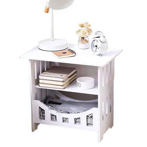 Ronde bijzettafel, antieke stijl theetafel, keurt kunstmatige Ontwerp van de Raad en met tweelaags Storage Rack, geschikt voor Livingroom Office,White