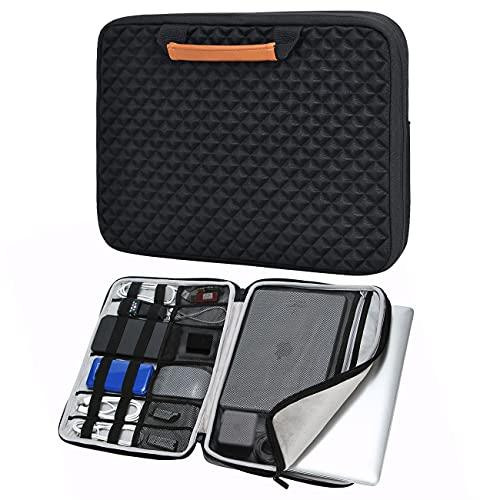 iCozzier 13-13.3 Zoll Laptoptasche mit Griff & Diamand-Stil/Tasche für Elektronisches Handtasche für 13 Zoll Ultrabook/Notebook/MacBook –Schwarz