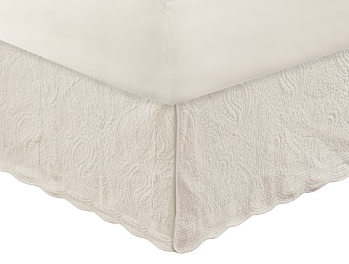 Greenland Home Paisley Quilted Bed Skirt, Ivory, Queen