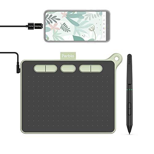 Parblo Ninos 6 x 4 Pulgadas OSU Tableta Gráfica 8192 Niveles Presión lápiz óptico sin batería para Dibujar, Compatible con Windows, Mac, Android, 5 Teclas de Función Personalizables