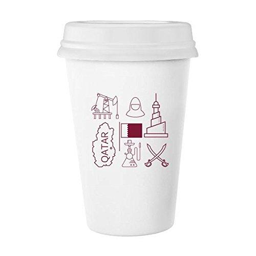Handgemaltes simple-line Zeichnen City Katar Flagge Classic Tasse Weiß Keramik Keramik Tasse Kaffee Milch Tasse Geschenk 350ml
