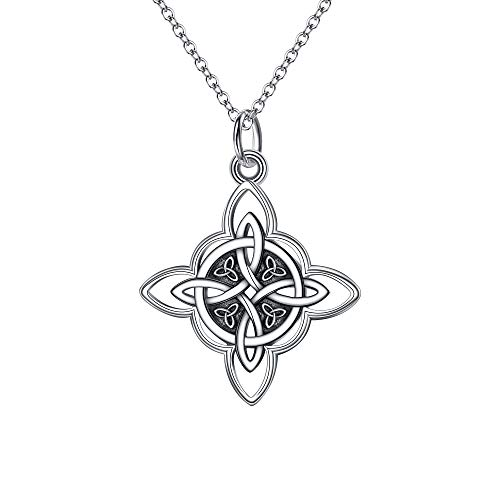 FANZE Women's Celtic Knot Jewelry 925 Sterling Silver Polished Infinity Flower Triquetra Trinity Knot Geometric Eternal Pendant Necklace gift for Women