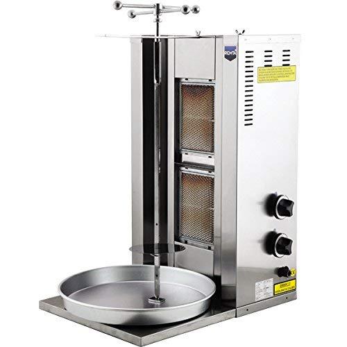 Capacidad de la carne: 25 kg. 2 quemadores de gas natural industrial comercial 21000 BTU giratorios, parrilla vertical Shawarma Gyro Doner Grill Kebab Tacos Al Pastor Machine
