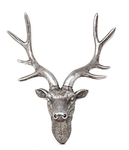 YGL 42cm Stag Deer Head Sculpture Wall Decoration Made From Resin With Antique Silver Finish (Silver)