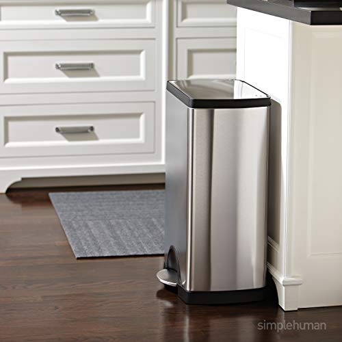 simplehuman 50 Liter / 13.2 Gallon  Stainless Steel Rectangular Kitchen Step Trash Can, Brushed Stainless Steel