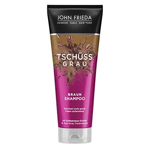 John Frieda Braun Shampoo - Tschüss Grau - Kaschiert erste graue Haare stufenweise - Mit Kaffeebohnen-Extrakt, 250 ml