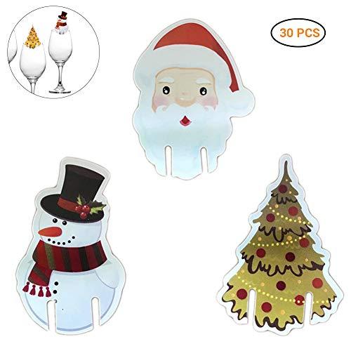 SayHia 30 stuks kerstrode wijn-schaaltjes leuke kerstshut-schaal-kaarten-decoratie voor feestjes