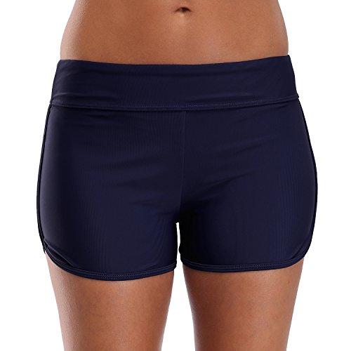 CharmLeaks Damen Badeshorts Schwimm Hotpants Bikini Badehose (XL / UK 14, Dunkelblau)
