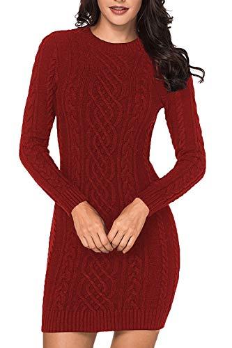 Viottiset - Jersey de punto para mujer, cuello redondo, manga larga, mini vestido de invierno