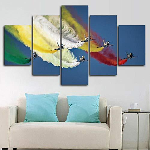 HFDSA 5 Piezas Cuadros Modernos Impresión De Imagen Artística Digitalizada Lienzo Decorativo para Tu Salón O Dormitorio Air Show Aeronaves Jet Fighters Regalo 150 X 80 Cm.