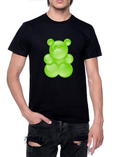 Fioze Verde Pegajoso Oso Camiseta Hombre Negro con Cuello Redondo Mens T-Shirt Black