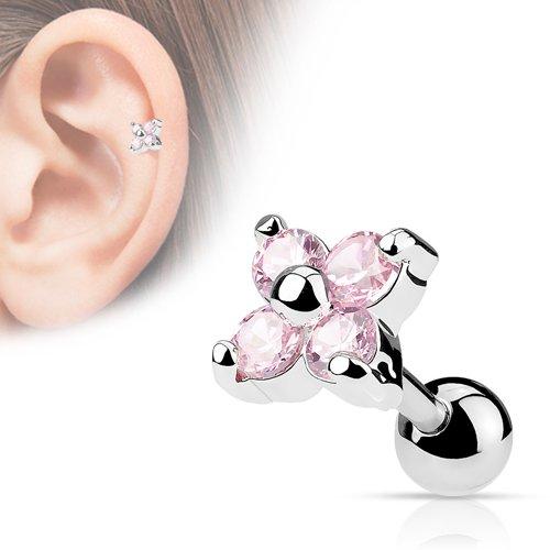 Helix piercing bloem roze