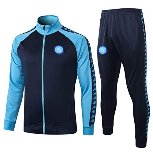 European Football Club Männer Fußball Sweatshirt Langarm Frühling und Herbst Sport Blau Trainings-Uniform (Top + Pants) -ZQY-A0386 (Color : Blue, Size : M)