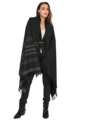 likemary Damen Schal Schultertuch aus 100% Merino Wolle - Poncho Stola XXL Tuch & Umschlagtuch -ideales ethisches Geschenk für Frauen - Twillon, 100 x 200 cm Schwarz