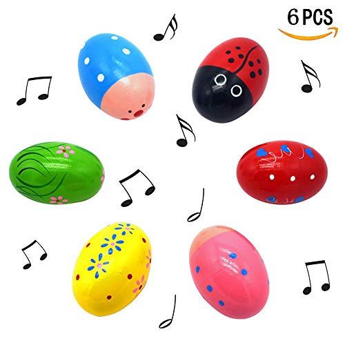 Gamtec set di 6 pezzi di simpatico motivo percussioni musicali 3 'in legno di maracas, agitatore per uova, regalo di primavera, confezione regalo, regalo di Pasqua, cestino riempitivo di stuffer