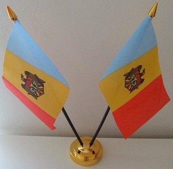 Moldavie 2 drapeau moldave Tableau d'affichage de bureau avec Base dorée