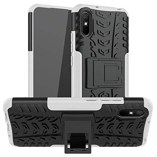 BAIYUNLONG Funda Protectora, Caja Protectora for Xiaomi redmi 9A Textura del neumático a Prueba de Golpes de TPU + PC con el sostenedor (Color : White)