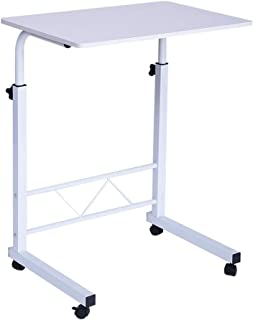"""Voberry Mobile Computer Desk, Laptop Stand Adjustable 23.6"""" Computer Standing Desk Portable Cart Tray Side Table with 4 Wheels for Bed Sofa Hospital Reading Eating"""
