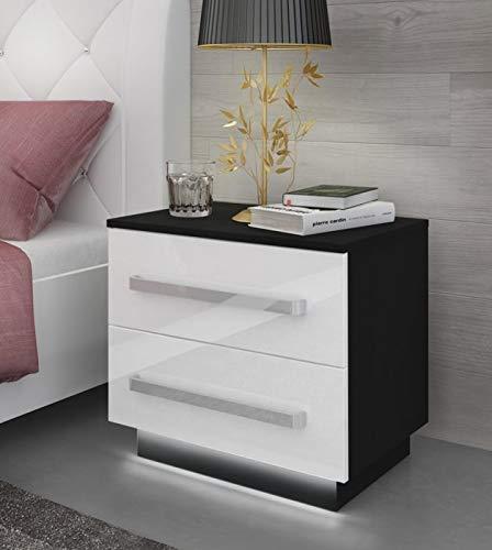 Lukmöbel Nachttisch Lina mit Schubladen und LED Beleuchtung Aluminiumgriffe Weiß Hochglanz HG Schlafzimmer Schlafzimmerkommode Nachtkonsole Nachtschrank Beistelltisch