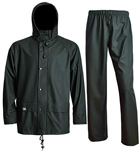 Waterproof Rain Jacket Waist Pants with Hood for Men Women Rain Suits Foul Weather Gear 3-Pieces Heavy Duty Sets (4XL, Dark Green)